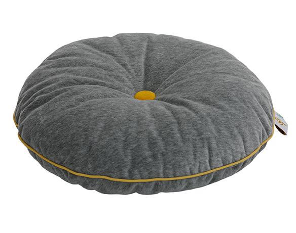 Wigiwama rundes Samt Kissen mit Knopf grau gelb ø35 cm