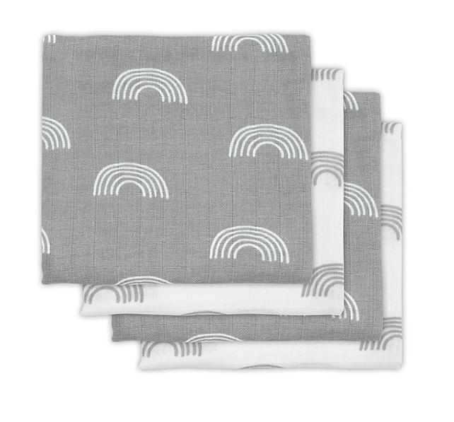 Mulltücher Mullwindeln Regenbogen grau 70x70 cm 4er Pack