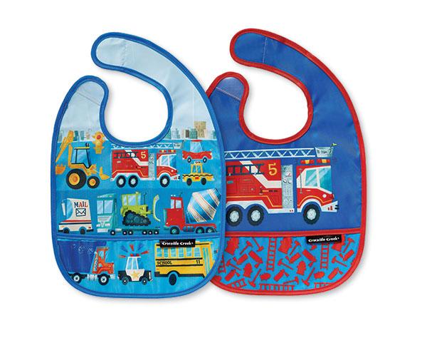 Lätzchen Fahrzeuge blau 2er Set mit Reisetäschchen