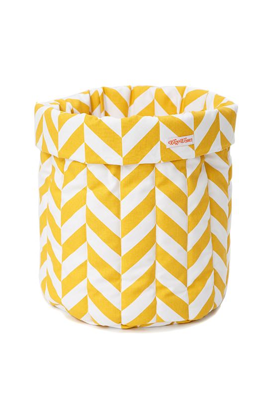 Stoff Aufbewahrungskorb Zickzack gelb weiß groß 55x40 cm