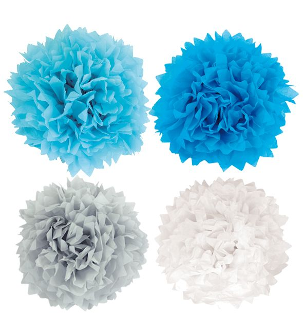 Pompons groß blau grau weiß 4er Set
