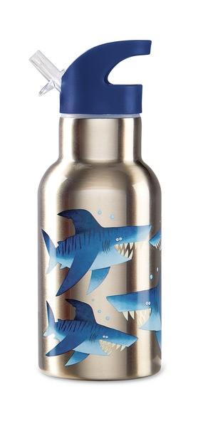 Isolierflasche Thermosflasche Trinkflasche aus Edelstahl Haifische blau