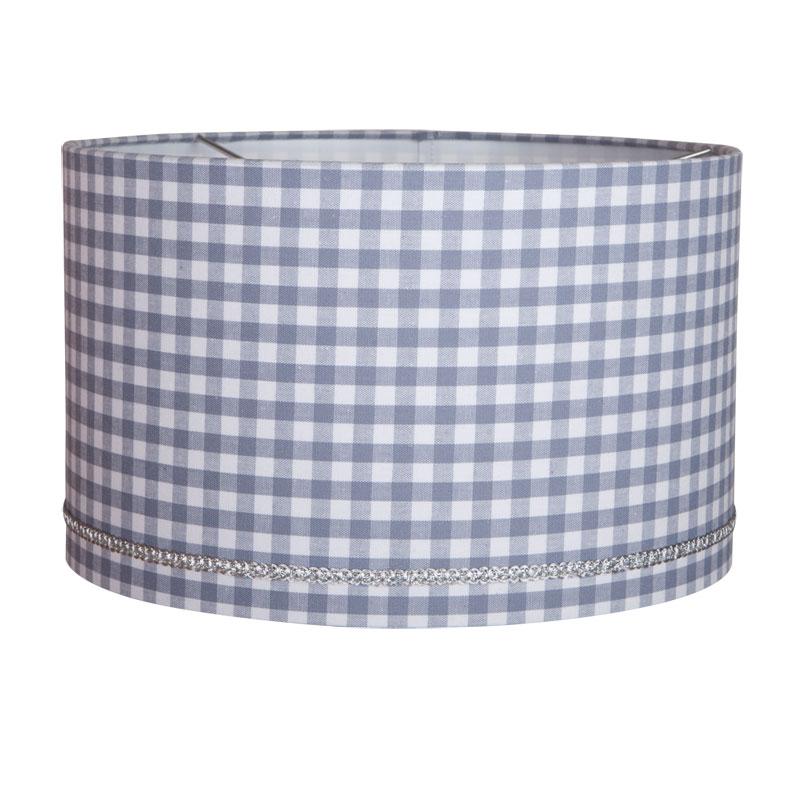 Runde Hängelampe grau-weiß Vichy Karo