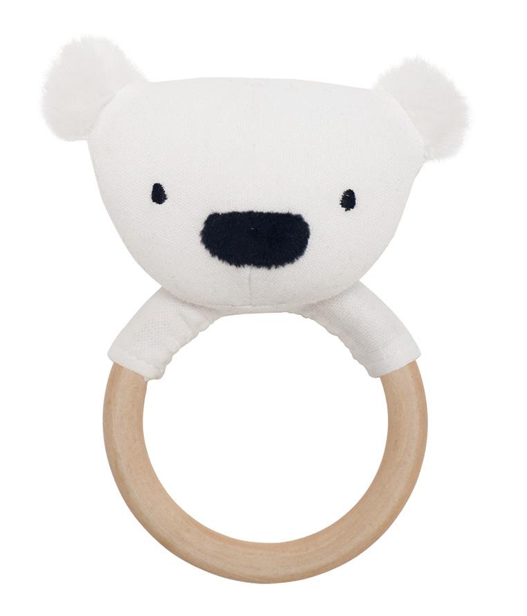 Holz Greifling Rassel Eisbär weiß