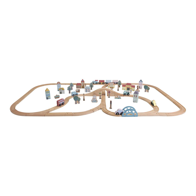 Holz Eisenbahn mit Schienen Starter Set XXL