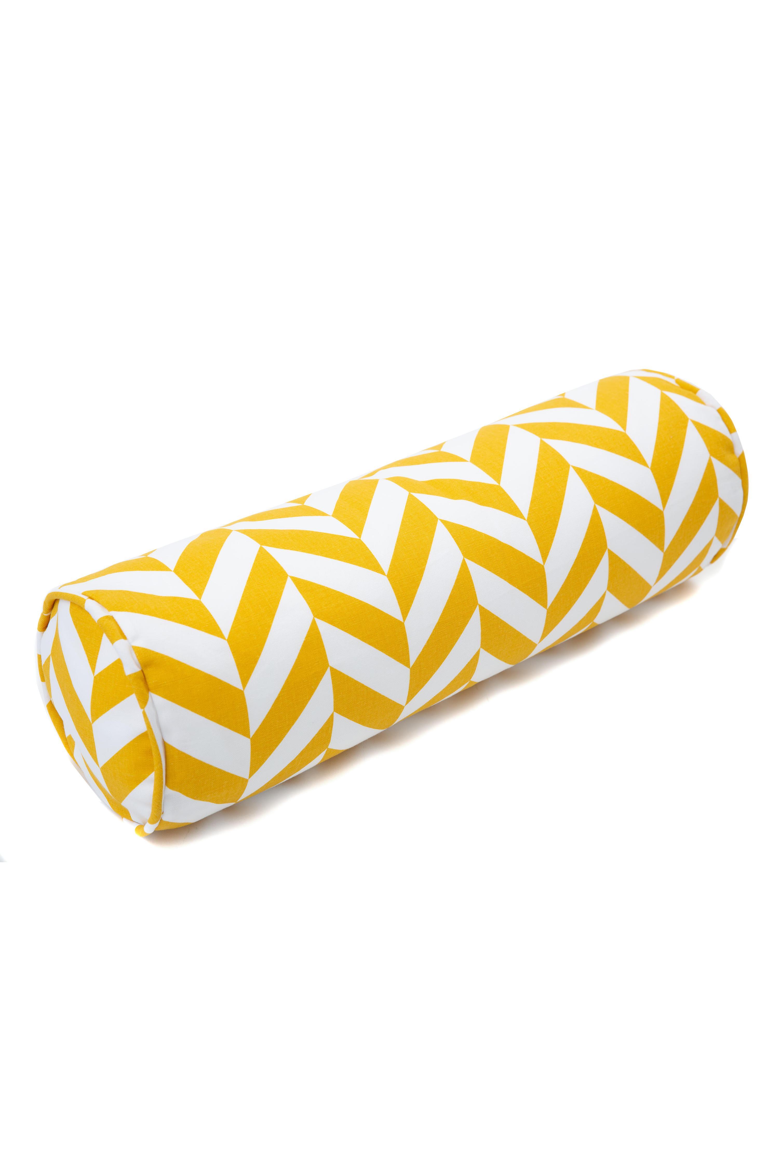 Kissenrolle Zickzack gelb weiß 60 cm ø20 cm