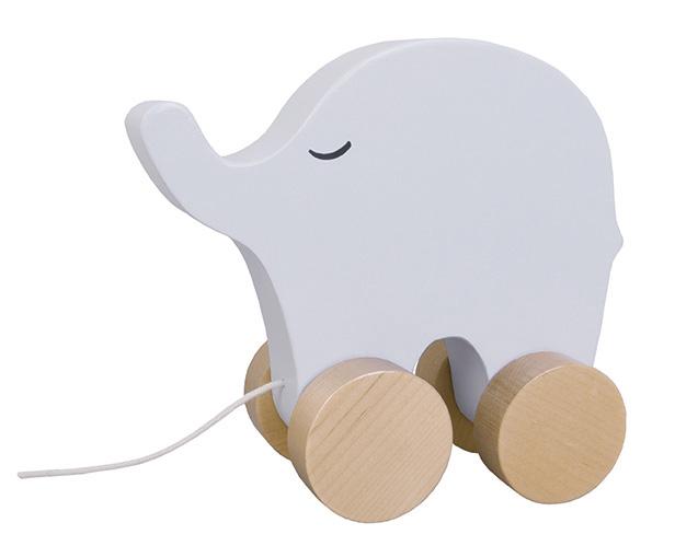 Holz Nachziehtier Elefant grau