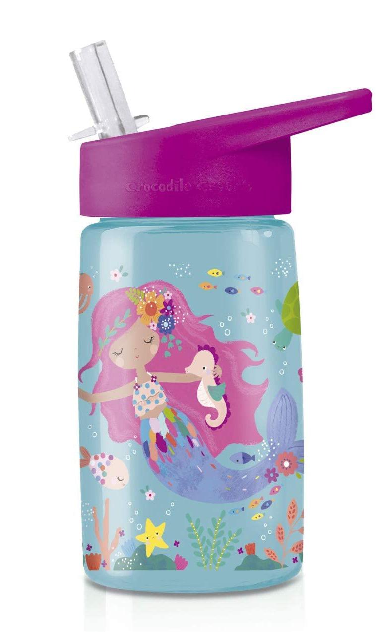 Trinkflasche aus Tritan mit Strohhalm Meerjungfrau hellblau