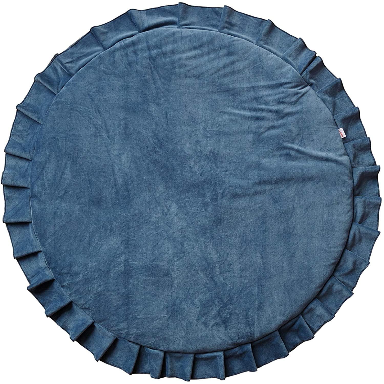 Samt Krabbeldecke Spielmatte mit Rüschen rund blau ø110cm
