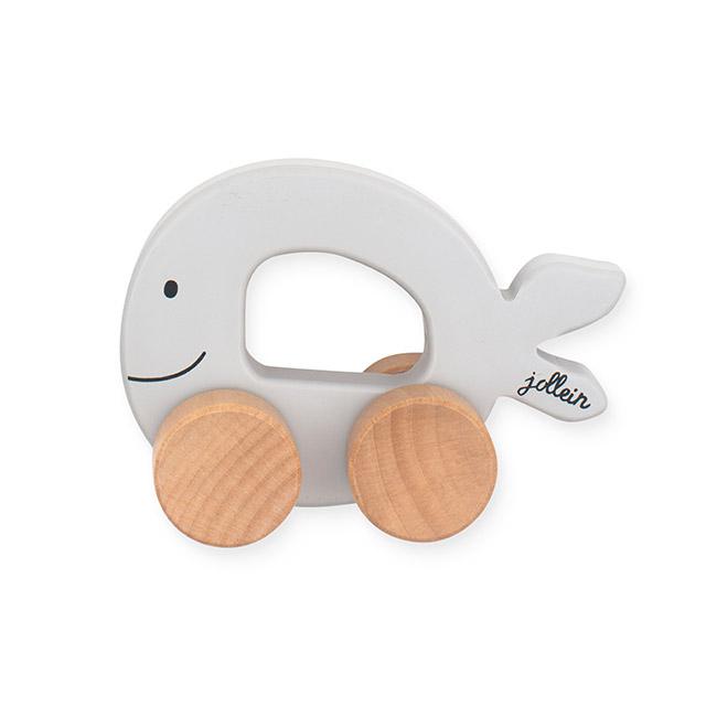Holz Fisch auf Rädern grau