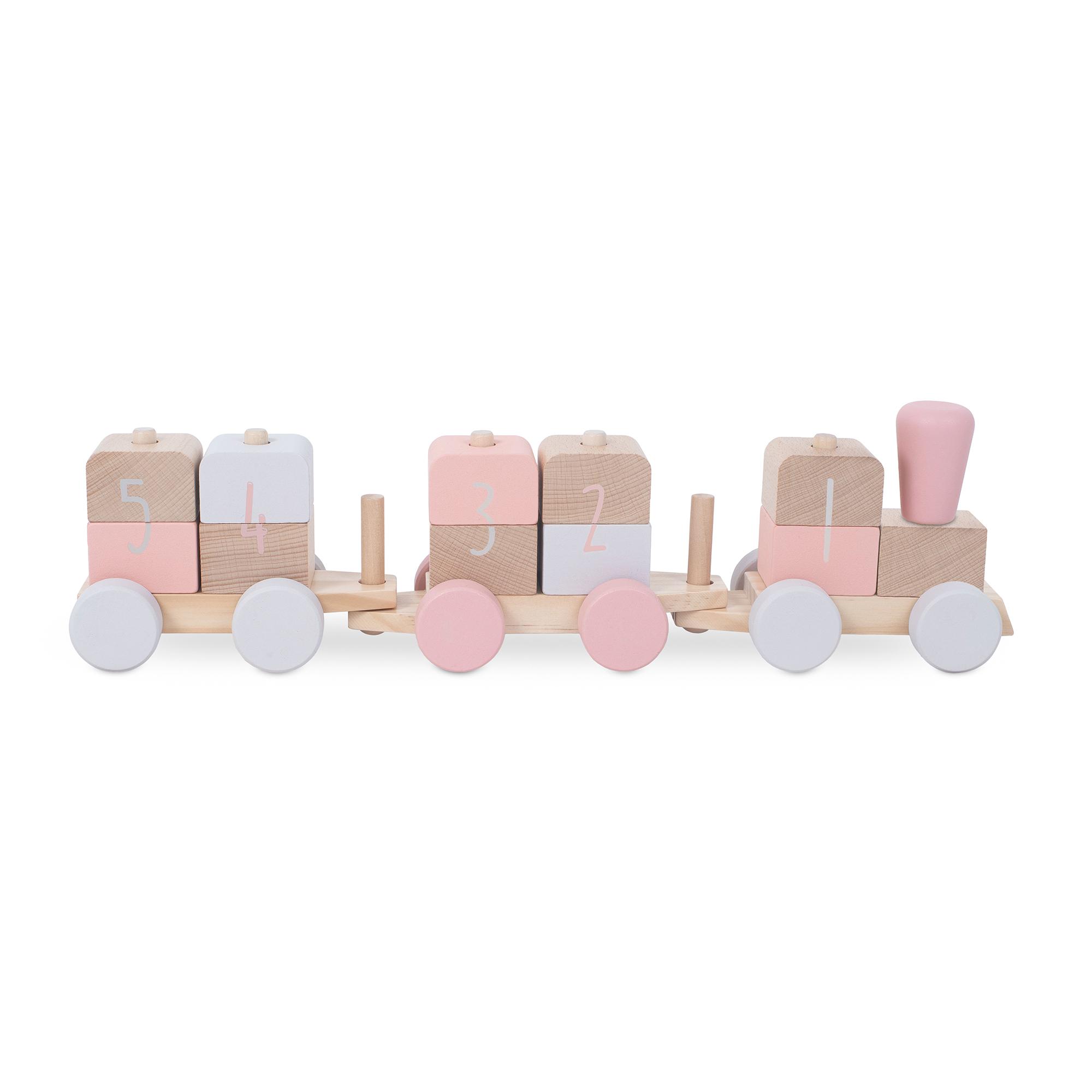 Holz Zug Eisenbahn mit Steckformen rosa