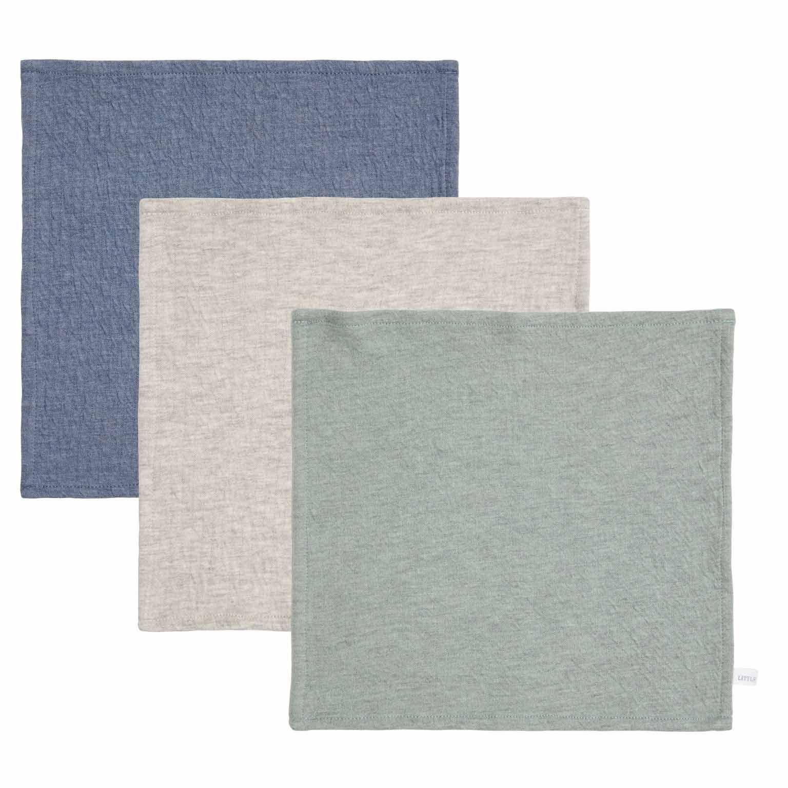 Spucktücher Mundtücher 3er Set Pure blau grau mint (Gr. 26x26 cm)