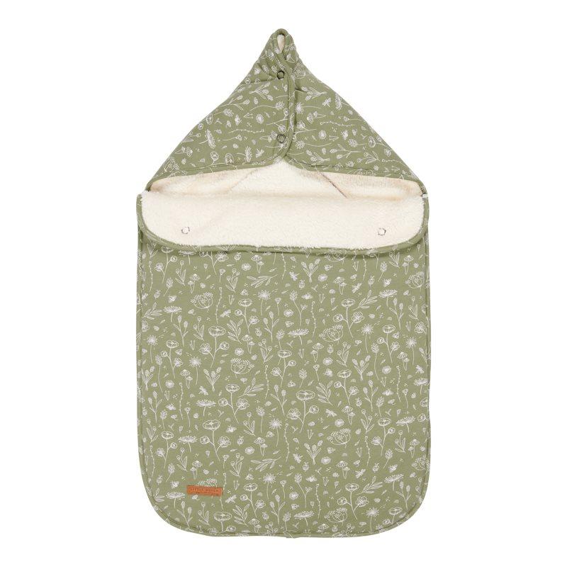 Fußsack für Babyschale Wild Flowers olive 77x50x6 cm
