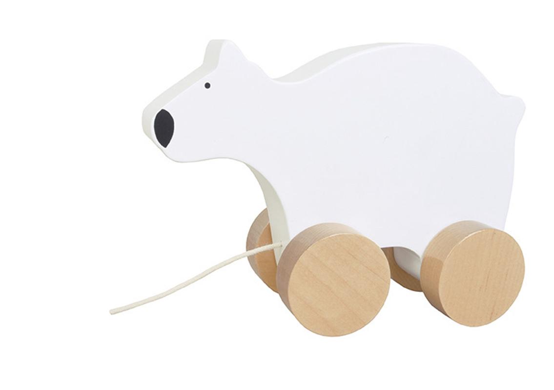 Holz Nachziehtier Eisbär weiß