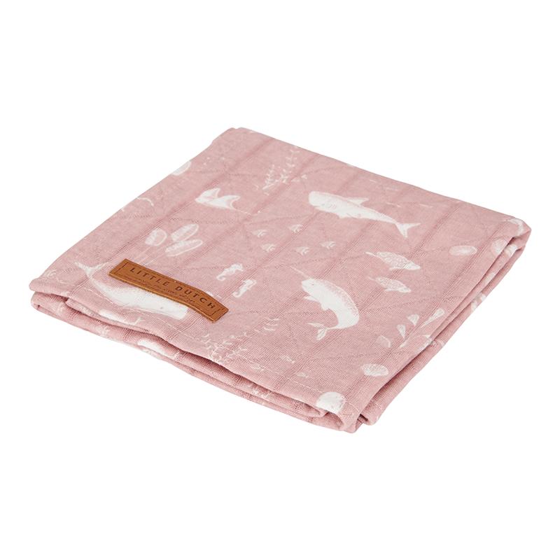 Musselin Swaddle Tuch / Pucktuch Ocean rosa (Gr. 120x120 cm)