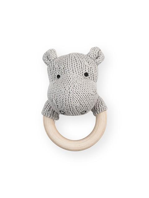 Rassel Strick Nilpferd mit Holz Beißring Soft Knit grau