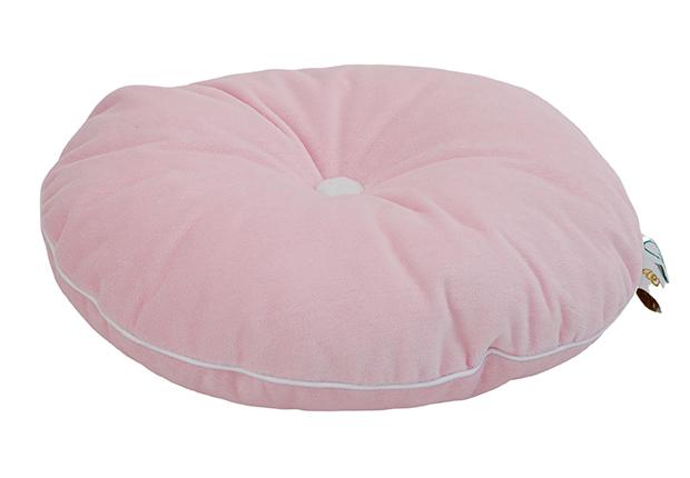 rundes Samt Kissen mit Knopf rosa weiß ø35 cm