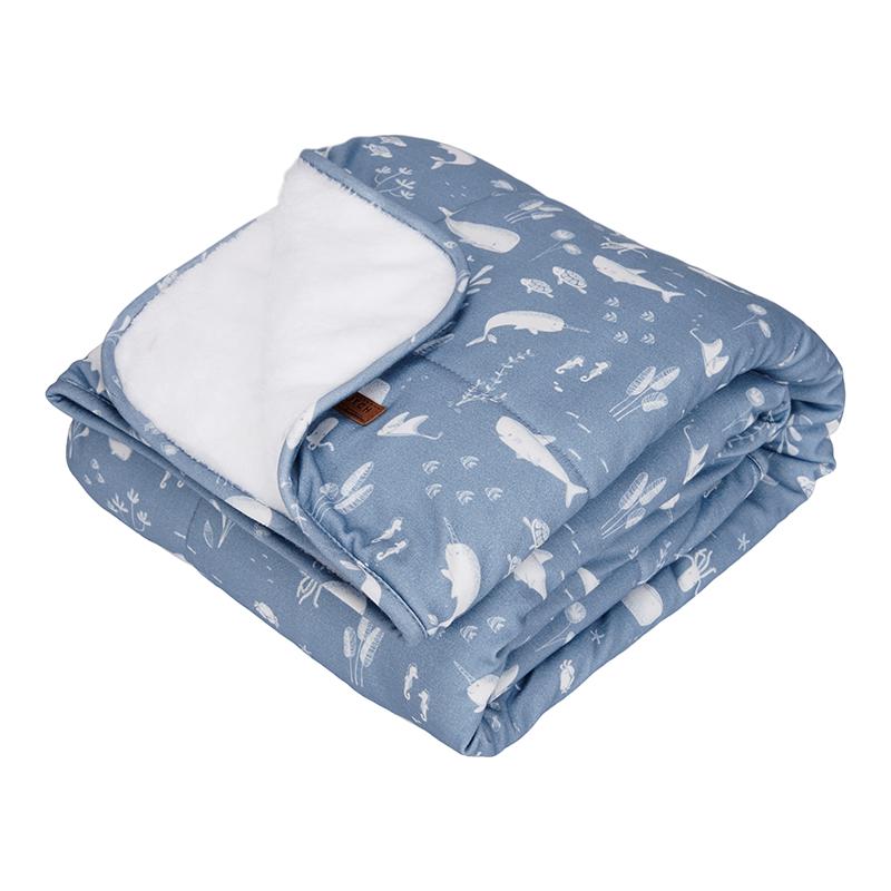 Babydecke mit Nickistoff Ocean blau 70x100 cm