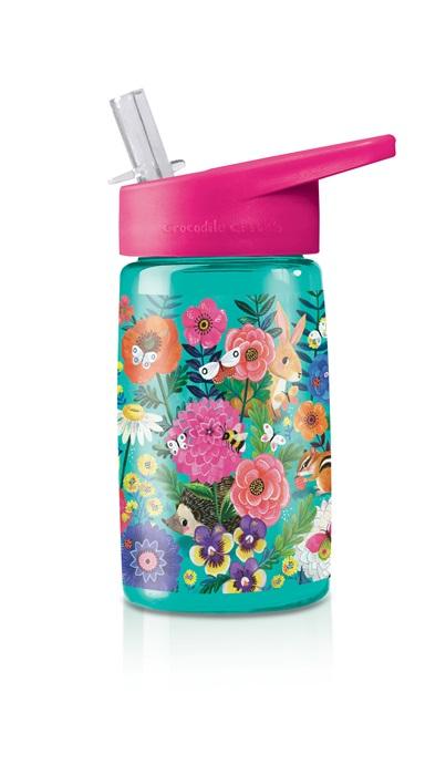 Trinkflasche aus Tritan mit Strohhalm Blumengarten türkis 425 ml