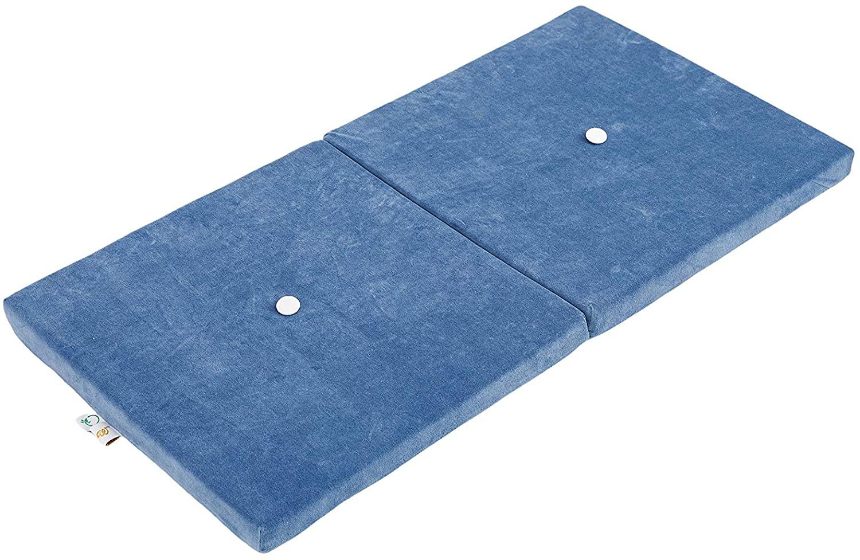 Samt Sitzkissen faltbare Spielmatte blau