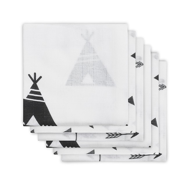 Mulltücher Indians schwarz weiß 70x70 cm 6er Pack