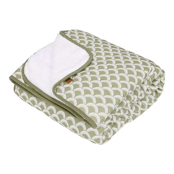 Babydecke mit Nickistoff Sunrise olive grün 70x100 cm