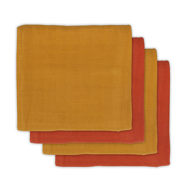 Mulltücher Bambus rostrot senfgelb 70x70 cm 4er Pack