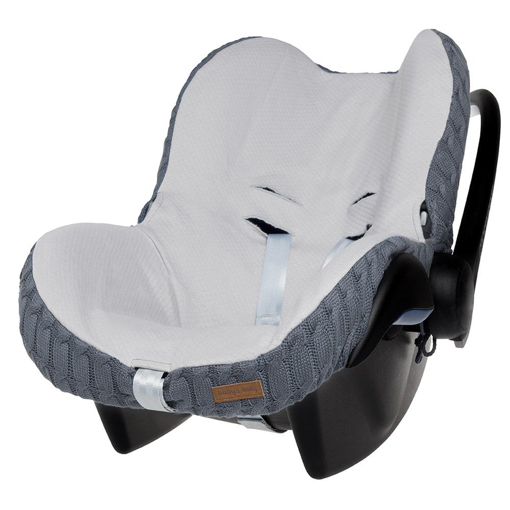 Bezug für Babyschale Zopfstrick graublau