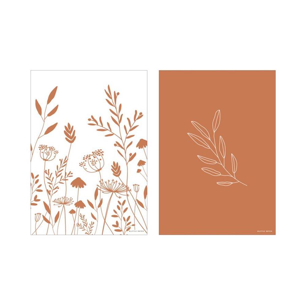 Poster A3 2 bedruckte Seiten Wild Flowers rost