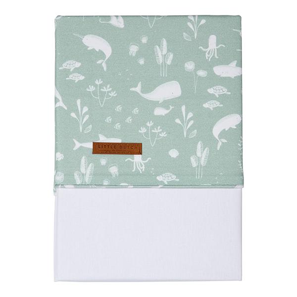 Babybettlaken Wiegenlaken Ocean mint (Gr. 70x100 cm)