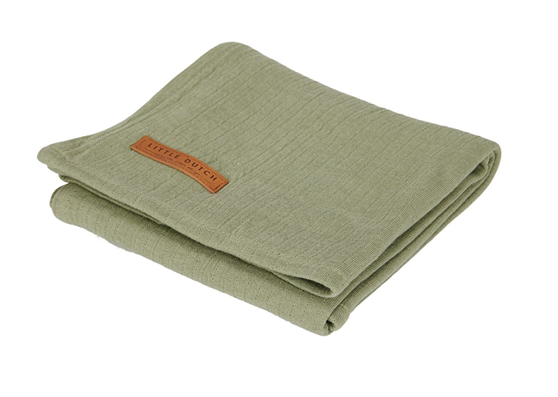 Musselin Swaddle Tuch / Pucktuch Pure olive (Gr. 120x120 cm)