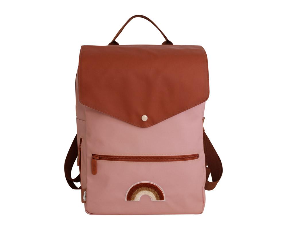 Rucksack für Kinder 8-12 Jahre Regenbogen rosa braun 40x28x16 cm