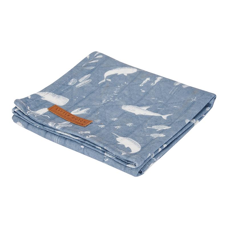 Musselin Swaddle Tuch / Pucktuch Ocean blau (Gr. 120x120 cm)