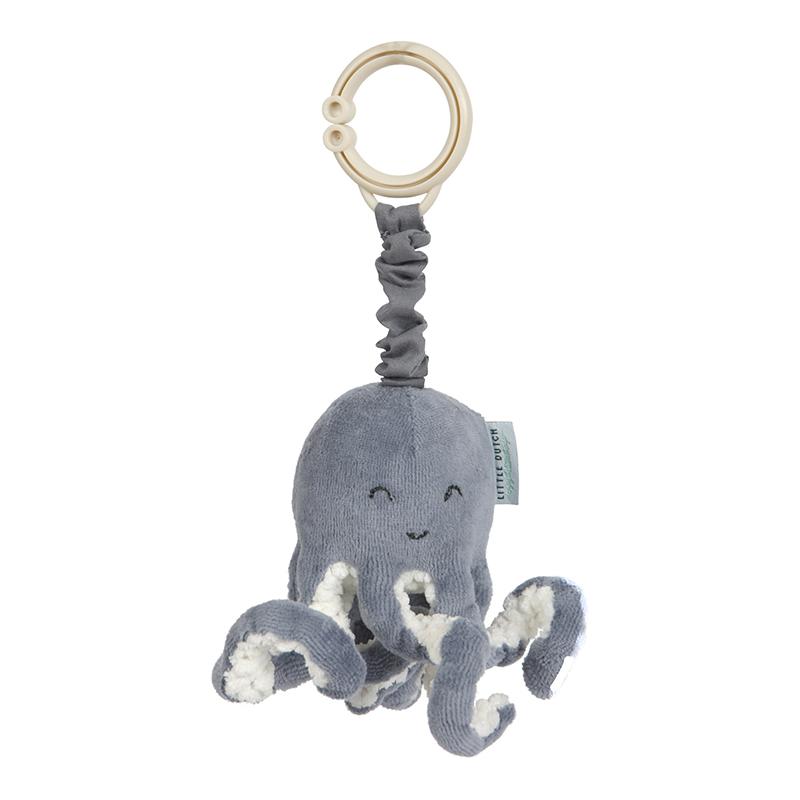 Aufziehtier Oktopus Tintenfisch Spielzeug für Babyschale und Kinderwagen Ocean blau