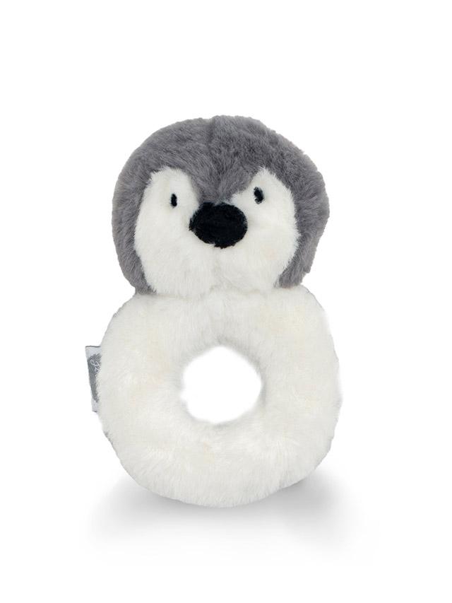 Jollein Plüsch Greifling Rassel Pinguin grau