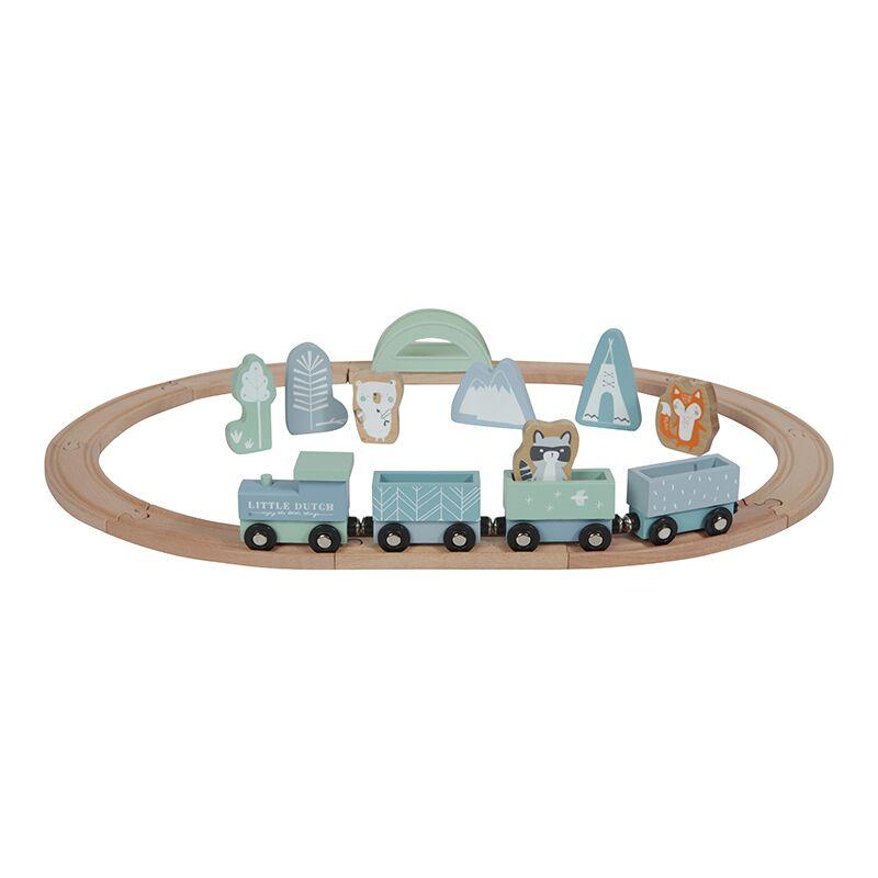 Holz Eisenbahn mit Schienen Adventure blau