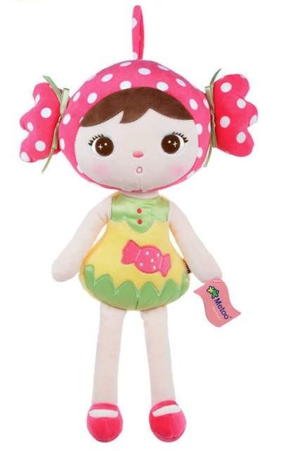 Stoffpuppe Bonbon Mädchen pink gelb grün 45 cm