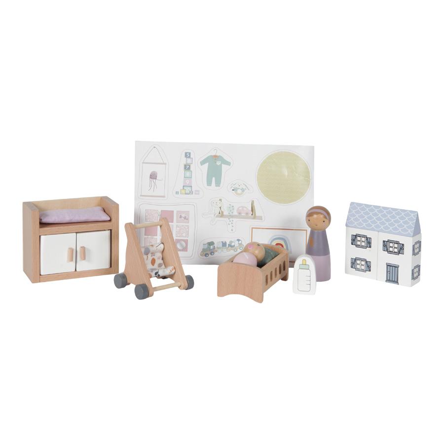 Holz Puppenhaus Zusatz Spielset Babyzimmer 11-teilig