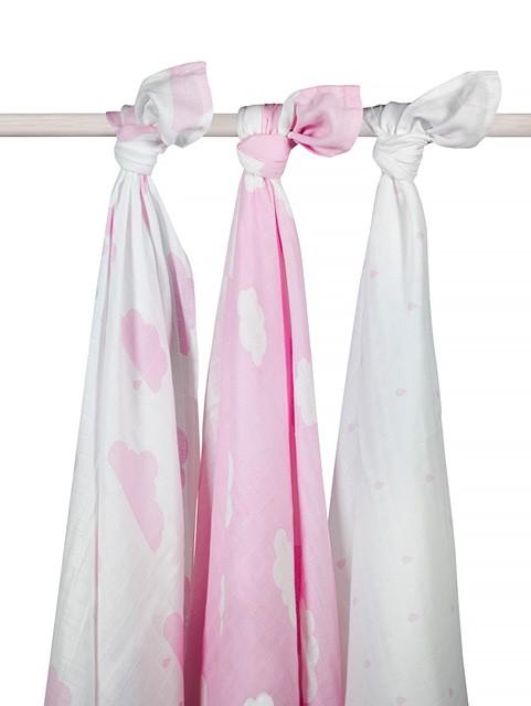 Jollein Mulltücher Swaddle Wolken rosa 115x115 cm 3er Set AV!!!
