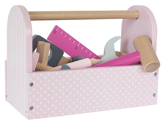 Holz Werkzeugkiste mit Zubehör rosa pink