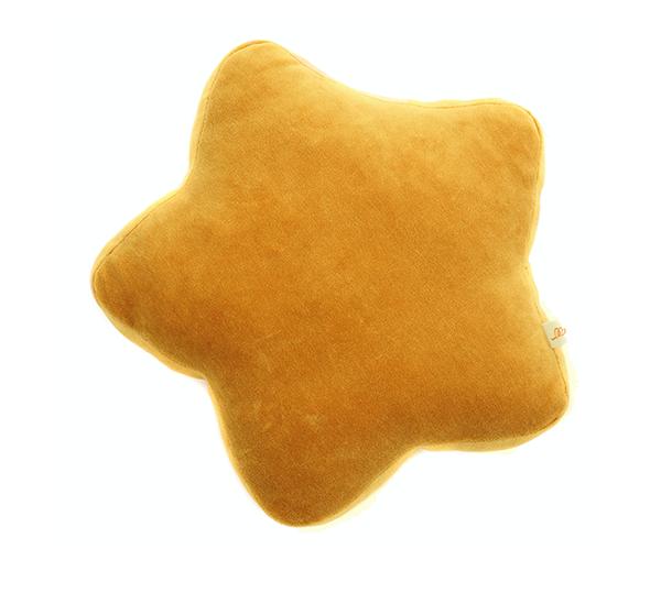 Samt Kissen Stern senfgelb 30x30x4 cm