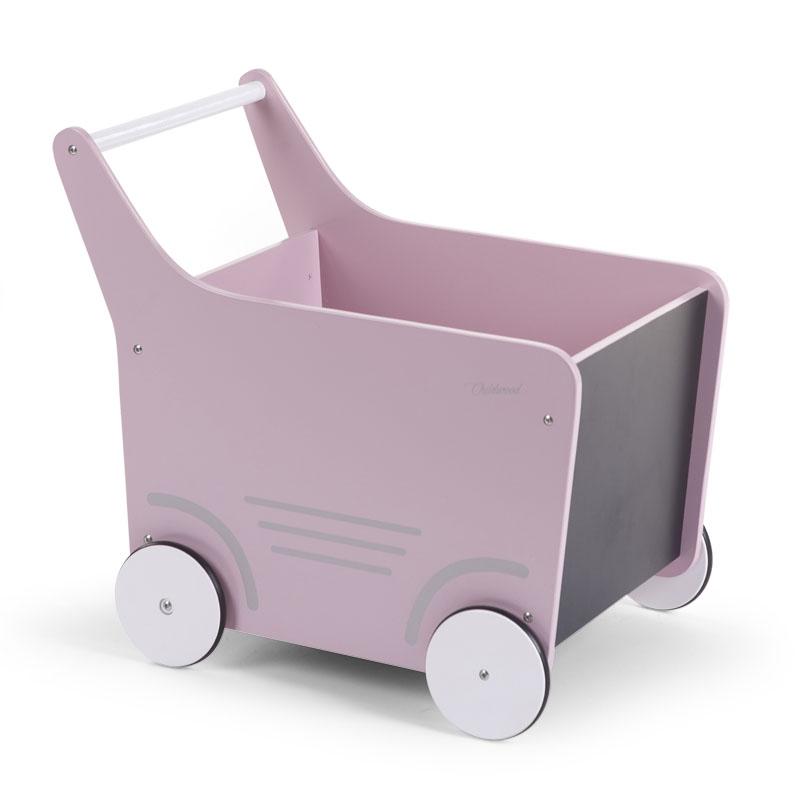 Holz Lauflernwagen rosa