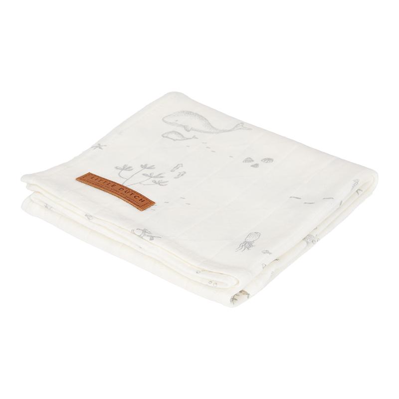 Musselin Swaddle Tuch / Pucktuch Ocean weiß (Gr. 120x120 cm)