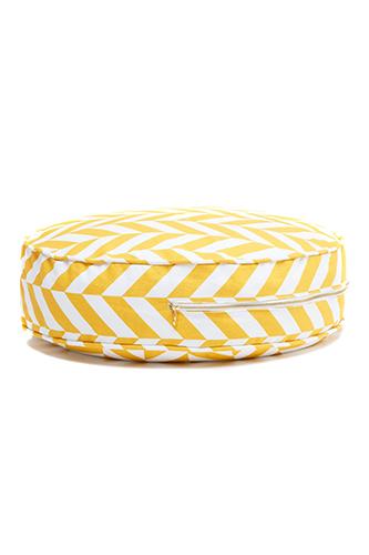 rundes Sitzkissen Ottomane Zickzack gelb weiß