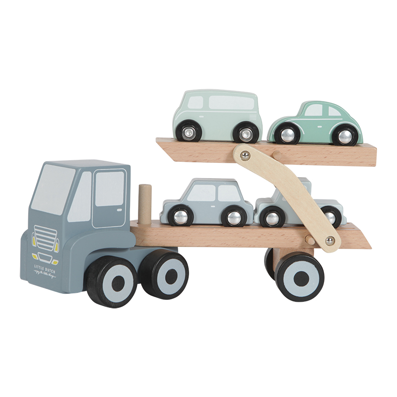 Holz Auto Transporter inkl. 4 Autos blau