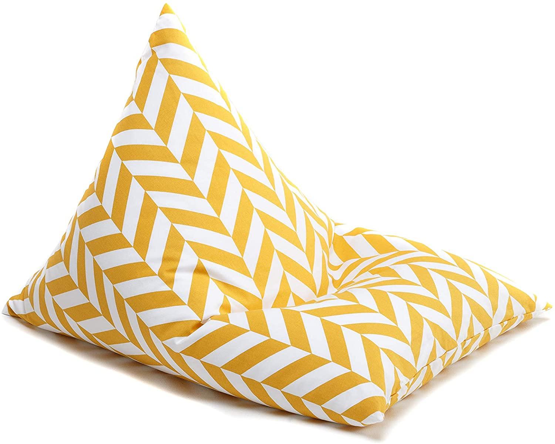 Sitzsack Zickzack gelb weiß 90x60 cm