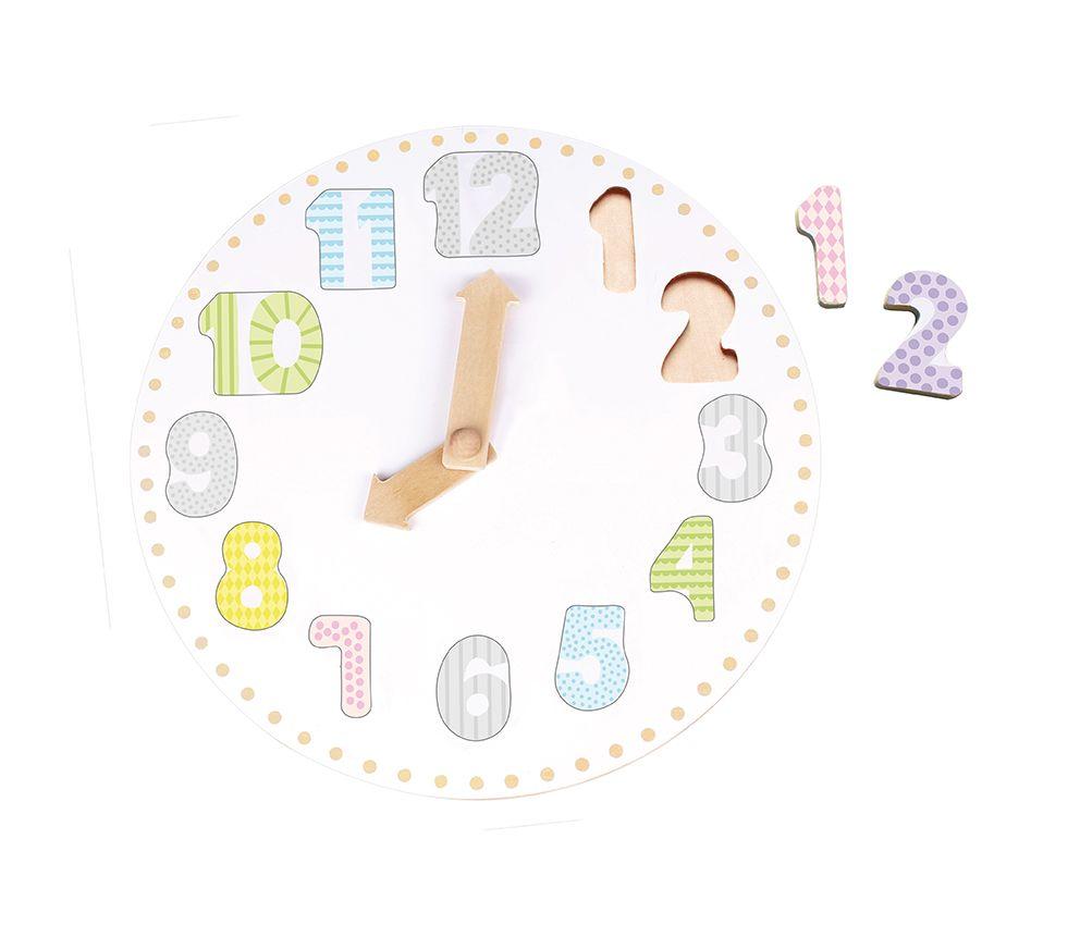 Holz Puzzle Lernuhr mit Zahlen