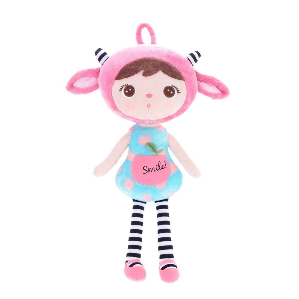 Stoffpuppe Faun Mädchen pink blau 45 cm