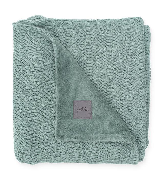 Babydecke Strickdecke mit Fleece River Knit stonegreen (75x100 cm)