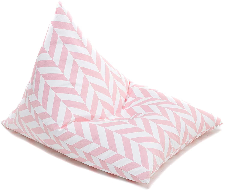Sitzsack Zickzack rosa weiß 90x60 cm